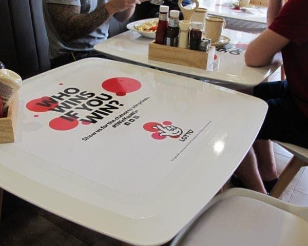 Lotto Coffee Shop Tablewrap Advertising