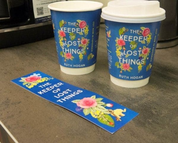 Ruth Hogan Hodder Coffee Cup & Bookmark Advertising