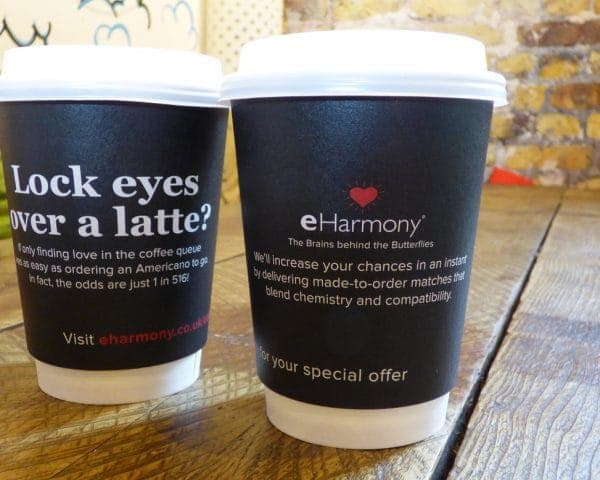 eHarmony Coffee Cup Advertising