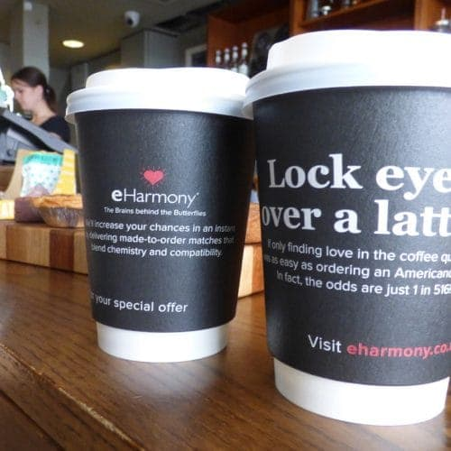 eHarmony Coffee Cup Advertising