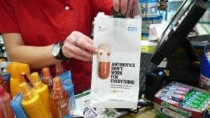 NHS Antibiotics Pharmacy Bag Advertising