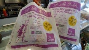 Tile Giant Sandwich Bag Advertising