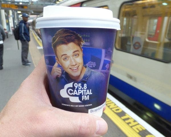 Capital FM Roman Kemp Coffee Cup Advertising
