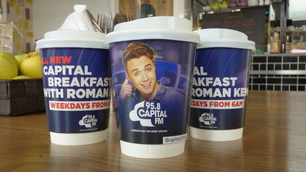 Capital FM Breakfast Show Coffee Cup Advertising