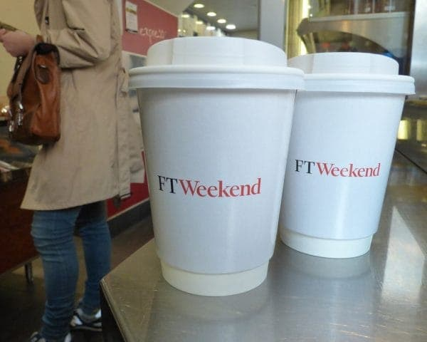 Financial Times Coffee Cup Advertising