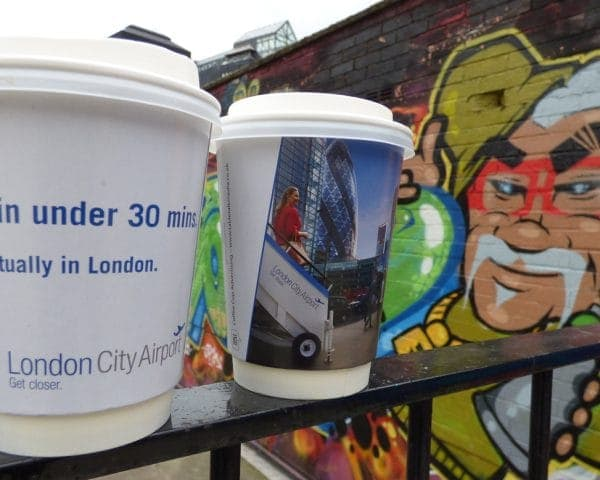 London City Airport Coffee Cup Advertising