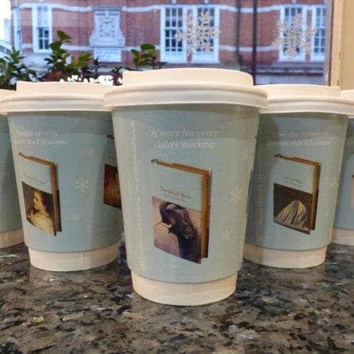 Macmillan Collectors Library Coffee Cup Advertising