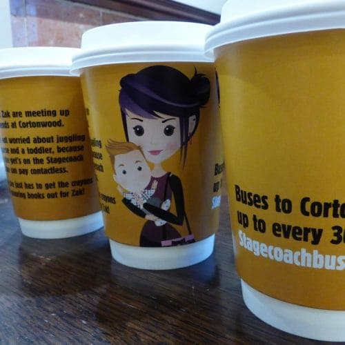 Stagecoach Buses Coffee Cup Advertising