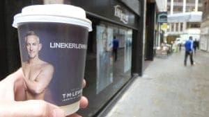 Lineker Lewin Coffee Cup Advertising