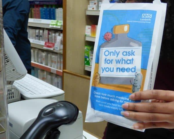 NHS Lambeth Pharmacy Bag Advertising