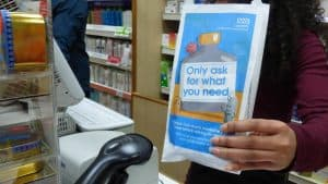 NHS Lambeth Pharmacy Bag Advertising