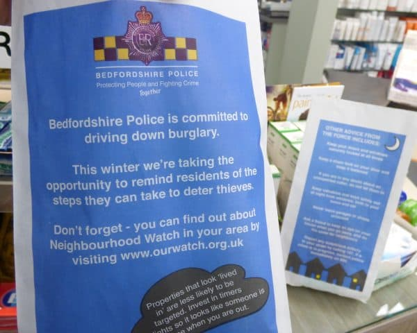 Bedfordshire Police pharmacy bag advertising