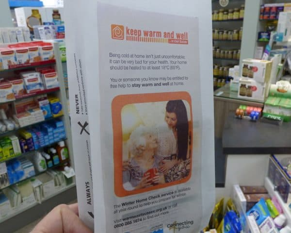 East Sussex CCG ColdAlerts pharmacy bag advertising