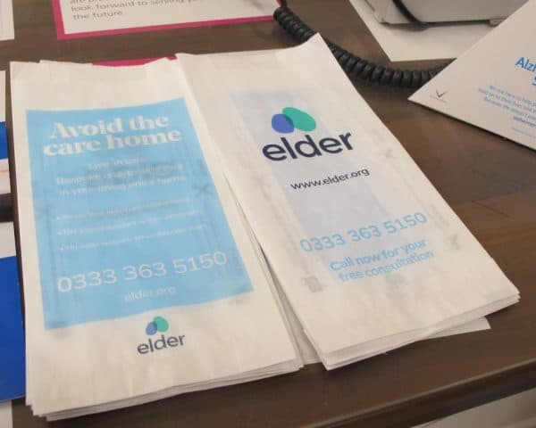Elder Live-In Care pharmacy bag advertising