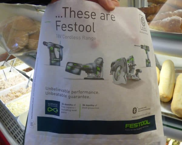 Festool sandwich bag advertising