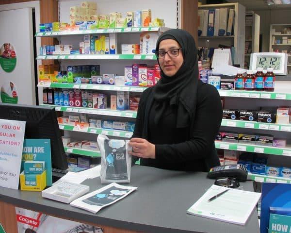 NHS Salford pharmacy bag advertising