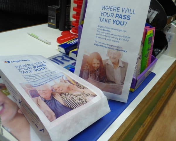Stagecoach Hampshire pharmacy bag advertising