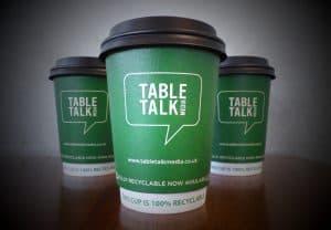 Tabletalk Media Recyclable Coffee Cup Advertising