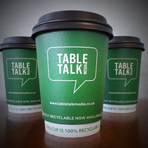 Tabletalk Media Recyclable Coffee Cup Advertising