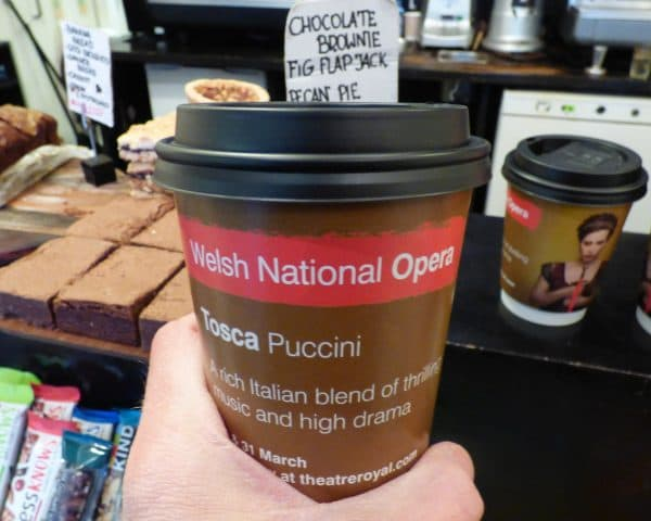 Welsh National Opera coffee cup advertising