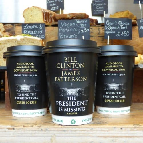 Bill Clinton Audiobook Coffee Cup Advertising