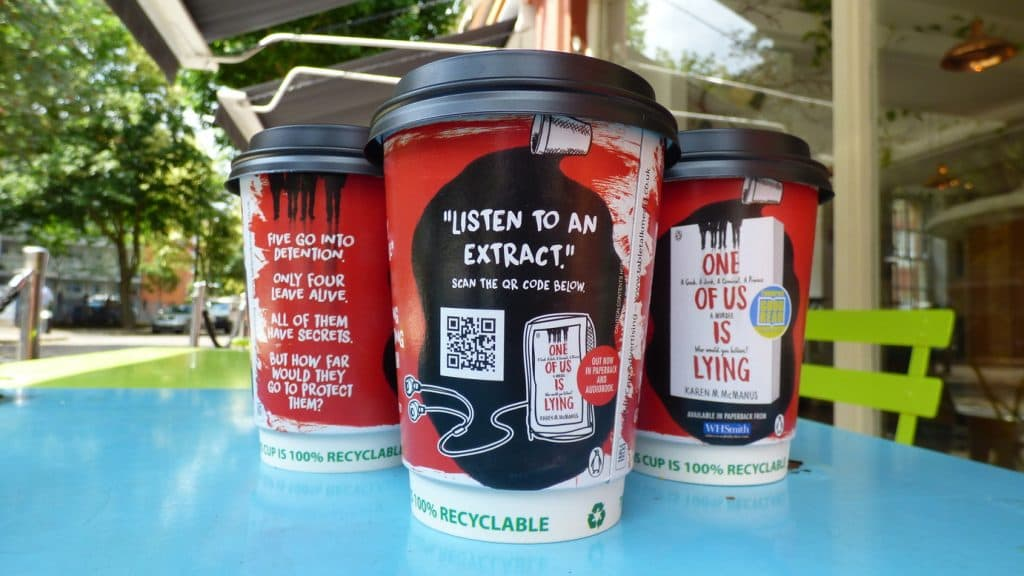 PRH QR Audio Extract Coffee Cup Advertising
