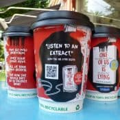 PRH with QR Code Audio Extracts on Coffee Cups