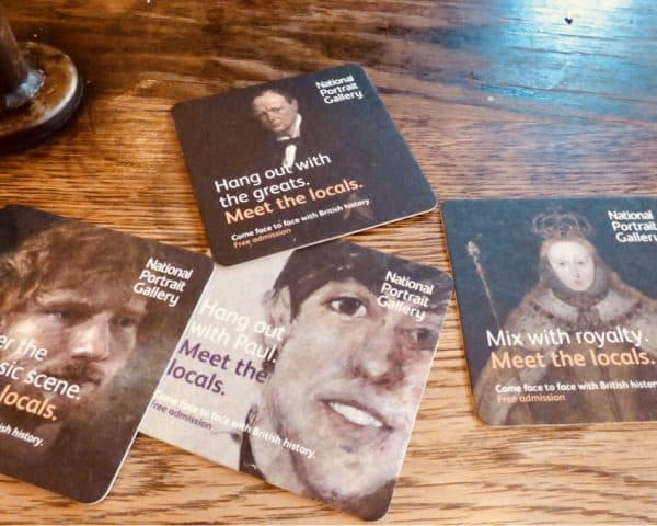 National Portrait Gallery Beer Mat Advertising