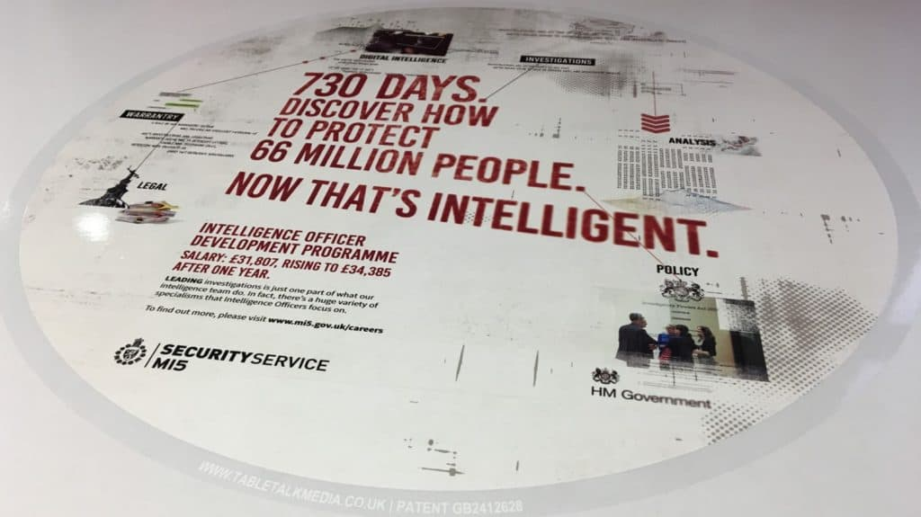 Mi5 Secret Service University Tablewrap Recruitment Campaign Tabletalk Media