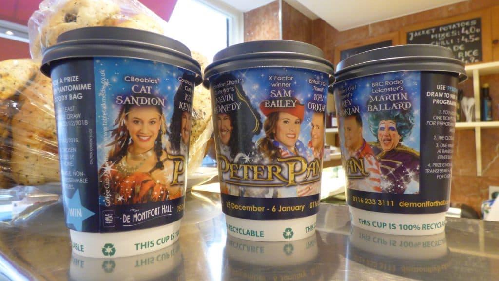 Peter Pan De Montfort Hall Coffee Cup Advertising