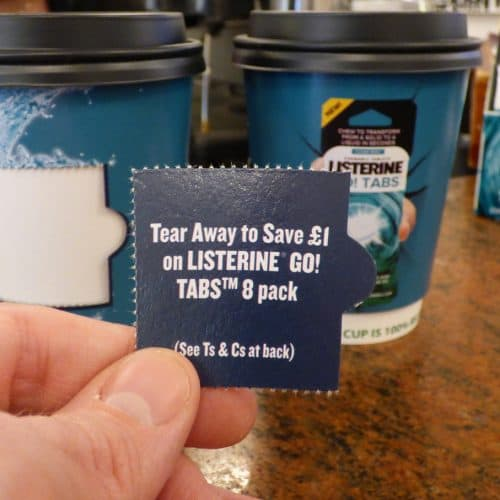 Listerine Coupon Coffee Cups and Sampling