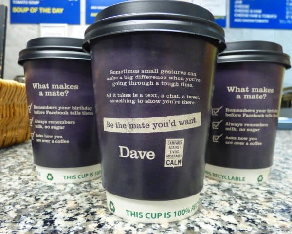 Dave CALM Coffee Cup Advertising
