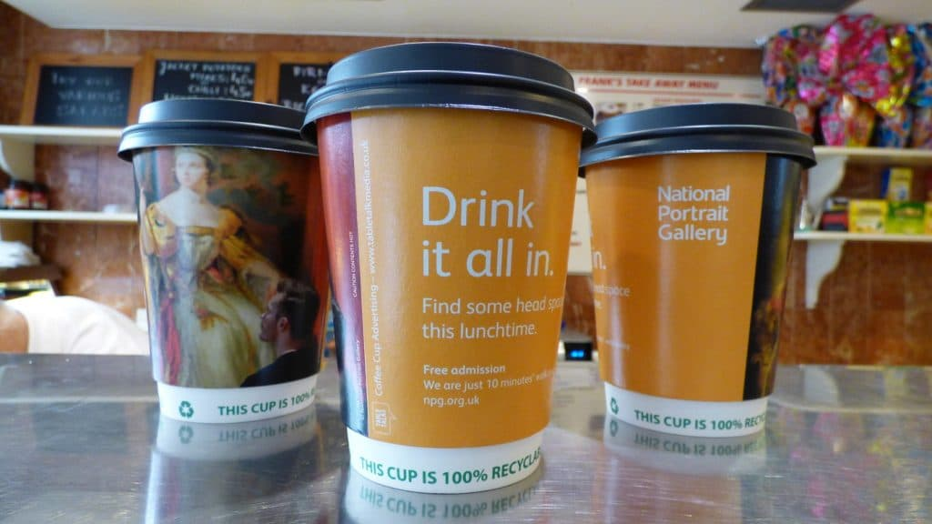 National Portrait Gallery Coffee Cup Advertising