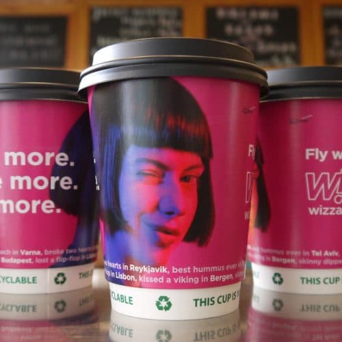 Wizz Air Coffee Cup Advertising