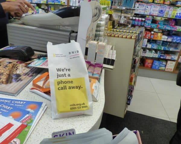RNIB Pharmacy Bag Advertising