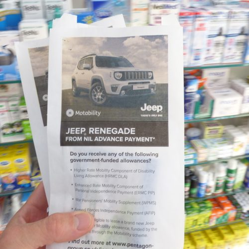 Jeep Motability Pharmacy Bag Advertising
