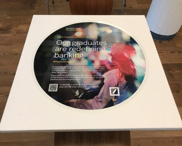 Deutsche Bank University Tablewrap Advertising