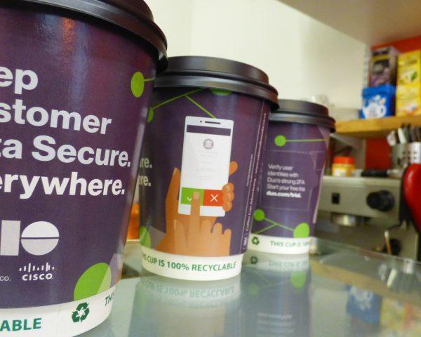 Duo Securities Coffee Cup Advertising
