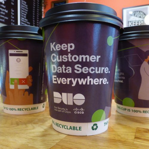 Duo Security Branded Coffee Cups