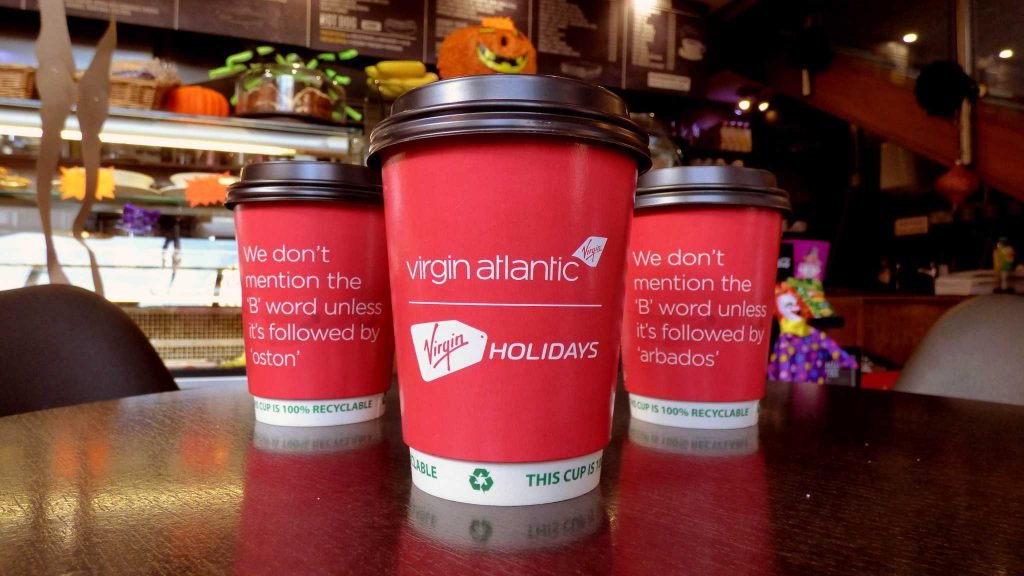 Virgin Atlantic Coffee Cup Advertising