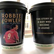 Robbie Fowler Autobiography on Coffee Cups in Liverpool