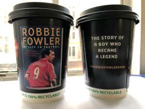 Robbie Fowler Autobiography Coffee Cup Advertising
