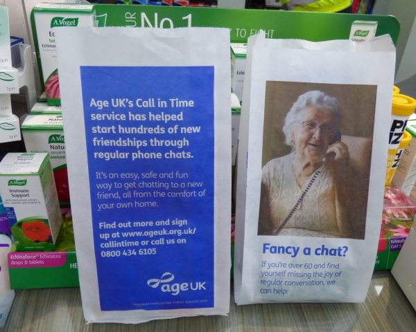 Age UK Pharmacy Bag Advertising