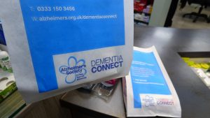 Alzheimers Society Pharmacy Bag Advertising