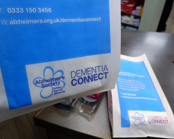 Alzheimers Society Pharmacy Bag Advertising