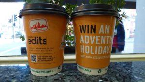 Exodus Travel Coffee Cup Advertising