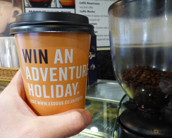 Exodus Travel Coffee Cup Advertising